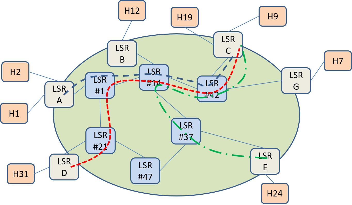 Figure 11: MPLS network with example LSPs.