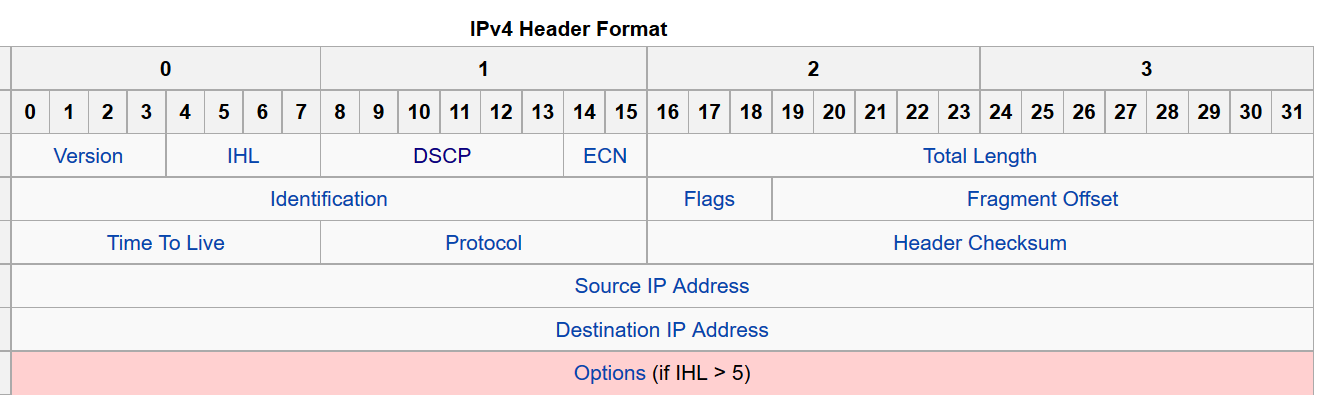 Figure 11: IPv4 packet header from Wikipedia. Note in byte 1 the DSCP and ECN fields.