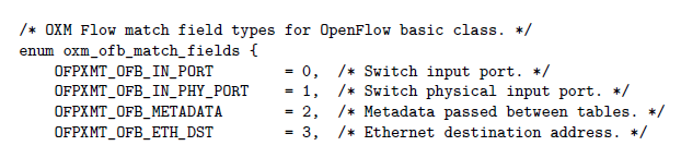 Figure 14: OpenFlow matching types part 1