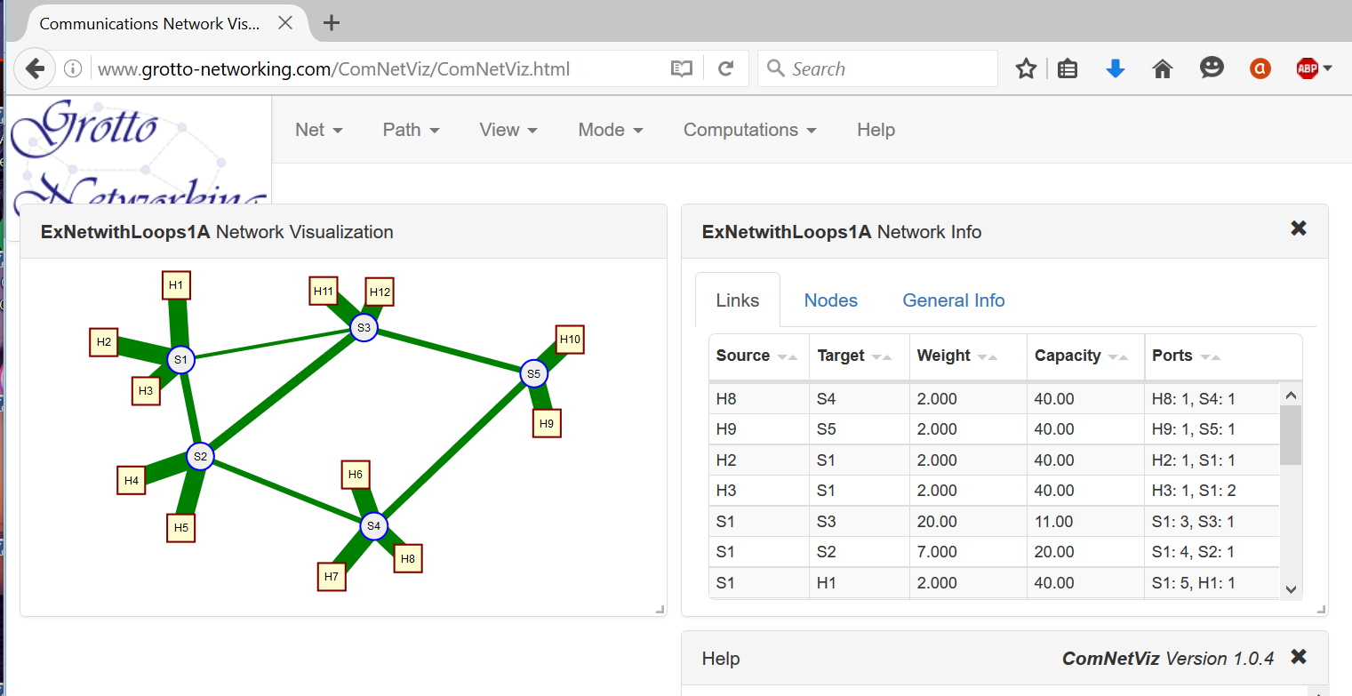 Figure 2: Graphic display of the network JSON file from Code Example 8 using our ComNetVis app.