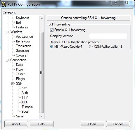 Figure 1: Putty configuration for X11 forwarding.